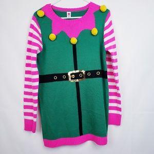 Total girl ELF Christmas sweater Dress Sequin